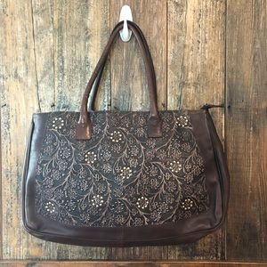 Brown & Gold Floral Leather Tote